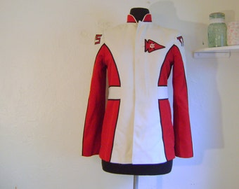 Band Jacket - Vintage red and white marching bacd coat with long sleeves and neru collar