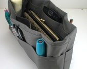Purse Organizer Insert with Enclosed Bottom - Solid Gray  Shown- 5 sizes available- large size pictured - other solid colors available