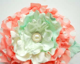 coral with mint green flower, weddings accessories, bridal hair clip, bridal corsage, brooch, bridesmaids, flower for sash, flower girl