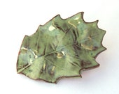 Oak Moss Green Leaf aimant céramique - automne aimant céramique feuille aimant décoration glaçage vert mousse automne feuille