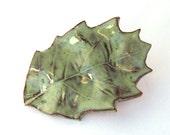 Moss Green Oak Leaf Ceramic Magnet -  autumn ceramic magnet leaf magnet home decoration moss green glaze fall leaf