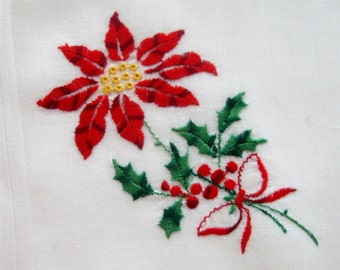 Vintage Christmas Handkerchief Embroidered Poinsettia White Linen