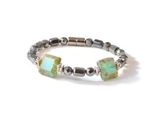 Turquoise Czech Glass & Black Magnetic Hematite Bracelet, Arthritis Jewelry