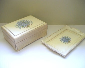 Jewelry Box and Tray Vintage Shabby Chic Wood Bois Made in Italy