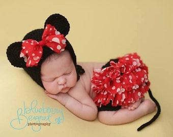 Mouse Bonnet and Skirt Set Newborn Photography Prop