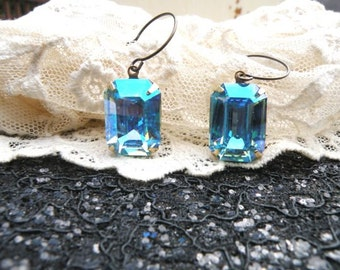 earrings blue jewel rhinestone dangle swarovski simple classic