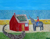 Bessie and her Elephant Friend Mabel Water the Rooftop Garden Whimsical Original Art Illustration Animal Painting Beach