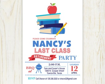 Teacher Retirement Invitation Staked Books with apple - digital file no. 432R