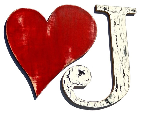 Items similar to Eco Wooden Letter J and Heart, Shabby ...