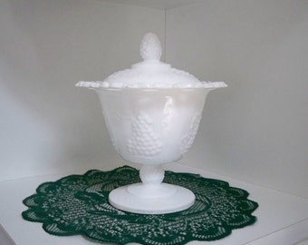 Vintage Collectible Milk Glass Compote Covered Bowl Dish Grape Pattern