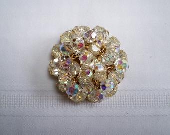 Vintage Jewelry Crystal Aurora Borealis Rhinestone Brooch Sparkle Brooch