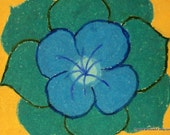 Cool teal blue Poppy Design Original Art 8x10 Print from oil pastel flower drawing