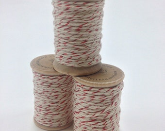 Baker's Twine - 20 Yards - Red Shimmer - Perfect for Christmas or Holidays - 4 Ply Twine on Wooden Spool