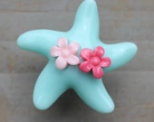 Pretty Star fish Drawer Knobs - Dresser pulls in Light Blue with little flowers (RK03)