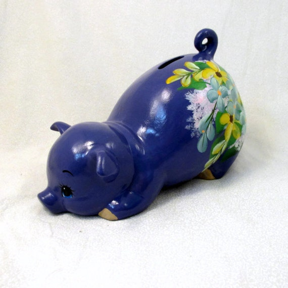 Blue Floral Piggy Bank from GrapeVineCeramicsGft on Etsy