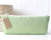 Mint Green and White Polka Dots Cute Pencil Case Long Zipper Pouch Green Pencil Pouch
