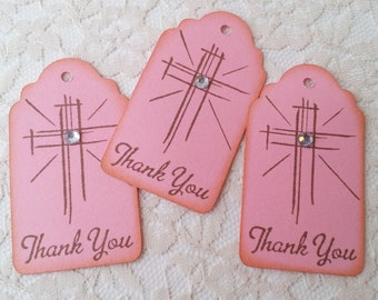 Baptism, Christening Tags, Religious, First Communion, Confirmation Favor Tags Shining Cross Pink Girl Set of 50