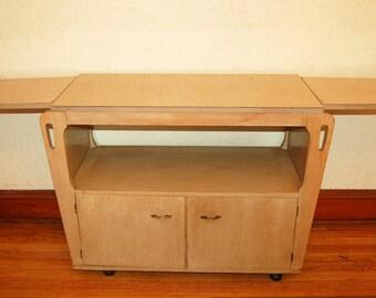 1950s Rolling Buffet Drop Leaf Server Tea Cart Blonde Wood