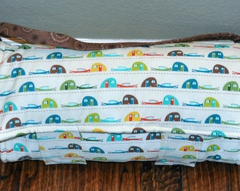 Nap Mat - Monogrammed Little Campers Nap Mat with a Teal Minky Dot Blanket