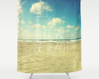 Beach Shower Curtain,ocean, typography, seashore,aqua home decor,turquoise,summer,nautical