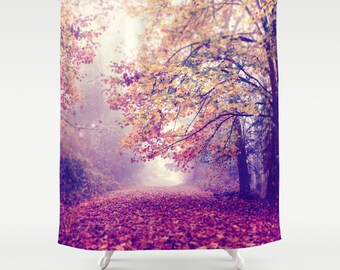 """Woodland Shower Curtain """"Lets be Adventurous"""" photography,woods,forest,trees,nature home decor,red,yellow,autumn,fall,landscape,peaceful,fog"""