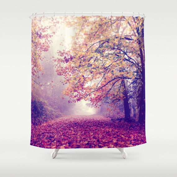 "Woodland Shower Curtain ""Lets be Adventurous"" photography,woods,forest,trees,nature home decor,red,yellow,autumn,fall,landscape,peaceful,fog"
