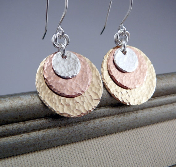https://www.etsy.com/listing/128731637/hammered-disc-earrings-silver-gold