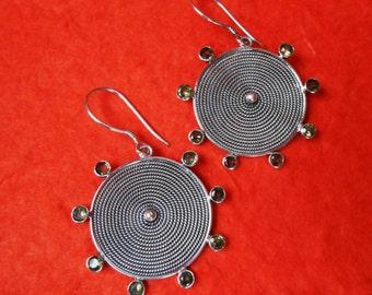 Outstanding Sterling Silver eight peridot gems dangle Earrings / 1.85 inch long / silver 925 / Balinese handmade jewelry
