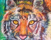TIGER LEAN Art 14x11 Impressionist Wildlife Oil painting by Award Winner Kendall F. Kessler