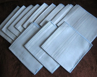 Napkins for Tablecloth Replacement Vintage LINEN 12 BLUE Linear Texture NEW