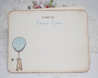 Personalized Baby Shower Wish Cards - Pooh Theme- Baby Boy - Birthday - Blue Balloon - Set of 12