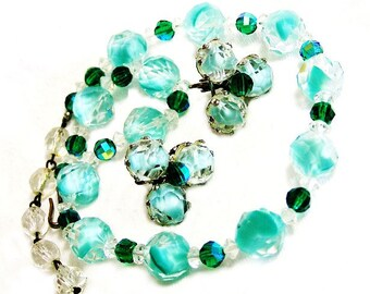 Aqua  and Clear Givre Glass Bead Necklace and Earrings Set