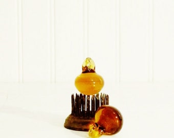 Vintage Prisms Petite Amber Pears Lot of 2 Chandelier Prisms Jewelry or Decor