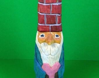 Hand Carved Chimney Hat Santa Wood Carving