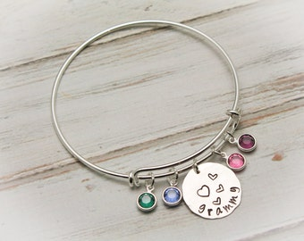 Mother or Grandmother Charm Bangle Bracelet with Birthstones in Silver