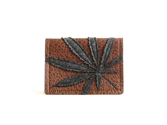 "Cannabis Leaf Wallet / Card Case : Charcoal Grey Marijuana Leaf Silhouette on Brown Vegan Leather - ""Half Baked"""