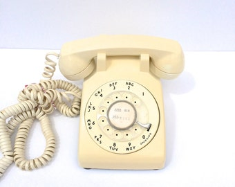 Vintage Cream Rotary Telephone Mad Men Style