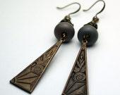 Lampwork Earrings - Antique Brass  Gray Glass Beads  Boho Beaded Jewelry 'Autumn Walk'
