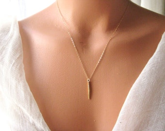 Gold plated bar, stick with gold filled chain, layered, bohemian, bridesmaids, gift