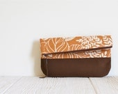 Fold Over Clutch, Print Clutch, Vegan Clutch, Orange and Brown Print Clutch