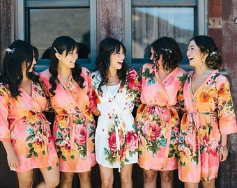 Coral Bridesmaids Robe Sets Kimono Crossover Robe. Bridesmaids gifts. Getting ready robes. Bridal Party Robes. Floral Robes. Dressing Gown