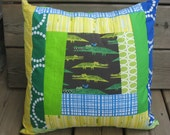 Crocodile Patchwork Throw Pillow Cover with Ed Emberly Fabrics