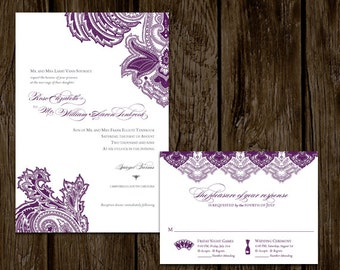 Purple Paisley Printable Wedding Invitation Set // AUBERGINE