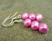 RESERVED FOR STEPHANIE Hot Pink Pearl Earrings Freshwater