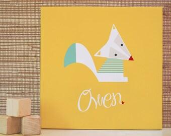 Woodland nursery, Fox, Personalized Wall Art, Yellow, Canvas. 10x10 Custom Fox Canvas