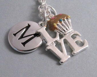I Love Chocolate Cupcakes Necklace, Cupcake Charm, Cupcake Keychain, Silver Plated Charm, Engraved, Personalized, Monogram
