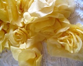 Large Lemon Yellow Chiffon Rose Handmade Millinery Flower Bloom with pin back