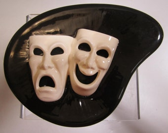 A Two Piece Comedy Tragedy Candy Dish in Black and White - Made in Japan