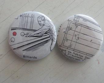 Billiards Vintage Dictionary Illustration Magnet Set of 2