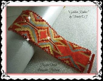 Peyote - Golden Rubies - BP-GEO-055 - Peyote Stitch Beadwork PATTERN, Peyote Bracelet pattern, beadweaving tutorial, bracelet pattern